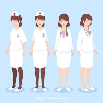 Classic and modern female doctors with flat design