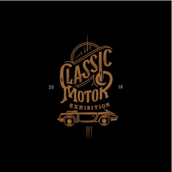 Classic motor exhibition lettering background