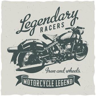 Классический мотоцикл и плакат легендарных гонщиков