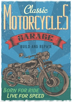 Плакат с иллюстрацией классического мотоцикла