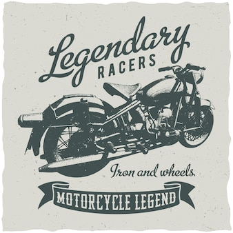 Classic motorcycle and legendary racers poster