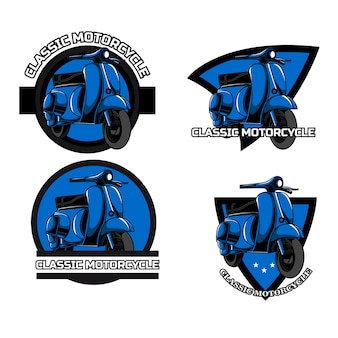 Classic motorcycle logo set