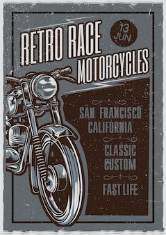 Иллюстрация плаката классического мотоцикла