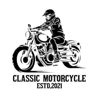 古典的なオートバイのシルエットイラスト