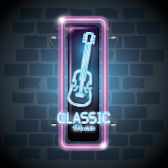 Classic music bar neon label vector illustration design