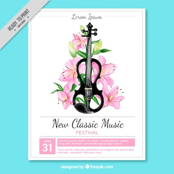 Classic music festival poster with guitar and floral decoration