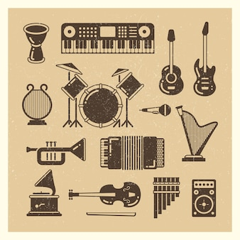 Classic music instruments grunge silhouettes set