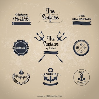 Classic nautical stickers    vector Free Vector