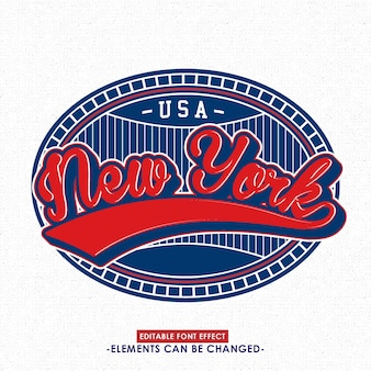 Classic new york font effect and badge