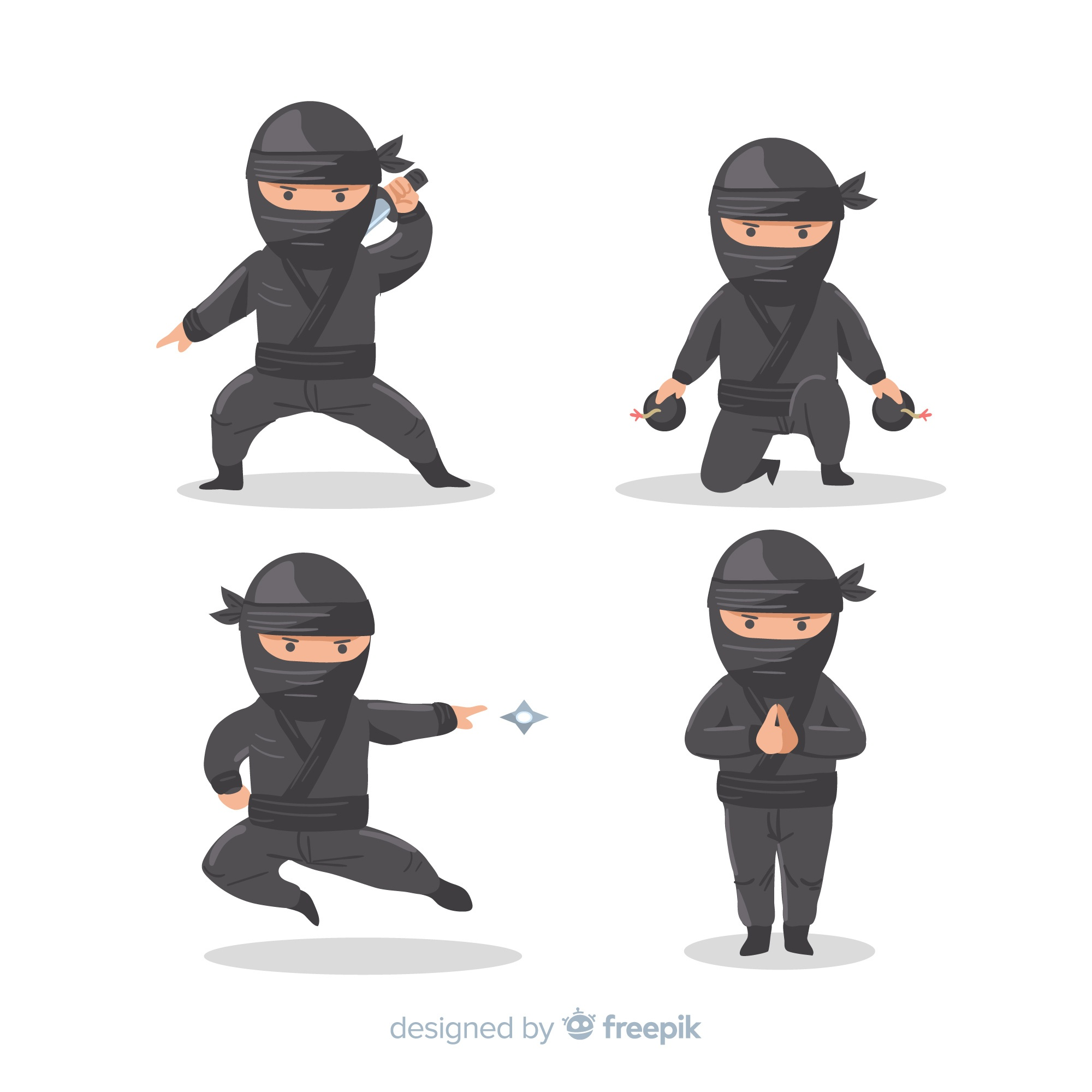 Classic ninja composition with flat design