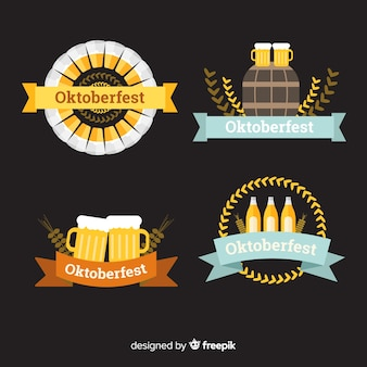 Classic oktoberfest badge collection with flat design
