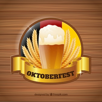 Classic oktoberfest badge with golden ribbon