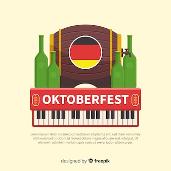 Classic oktoberfest composition with flat design