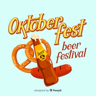 Classic oktoberfest composition with flat design