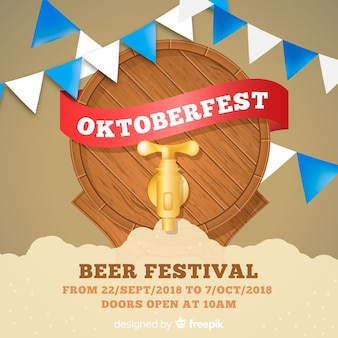 Classic oktoberfest composition with realistic design