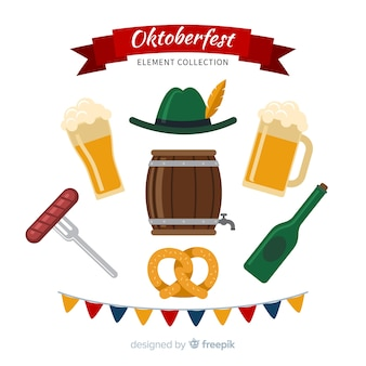 Classic oktoberfest element collection with flat design