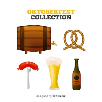 Classic oktoberfest element collection with realistic design