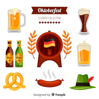 Classic oktoberfest element collecton with flat design