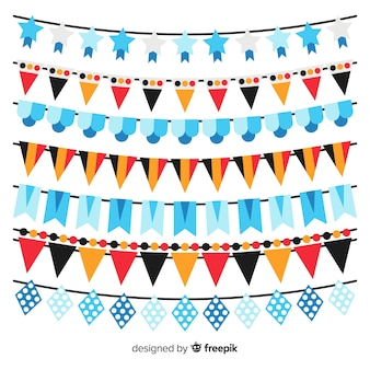 Classic oktoberfest garland collection with flat design