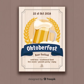 Classic oktoberfest poster template with flat design