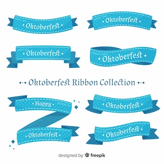 Classic oktoberfest ribbon collection with flat design