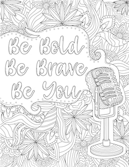 Classic old microphone with speech bubble with message be bold be brave be you voice amplifier