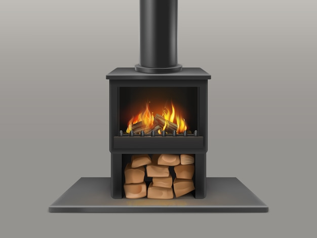 Classic open fireplace with black chimney pipe, dry wood chunks storage