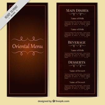 Classic oriental menu