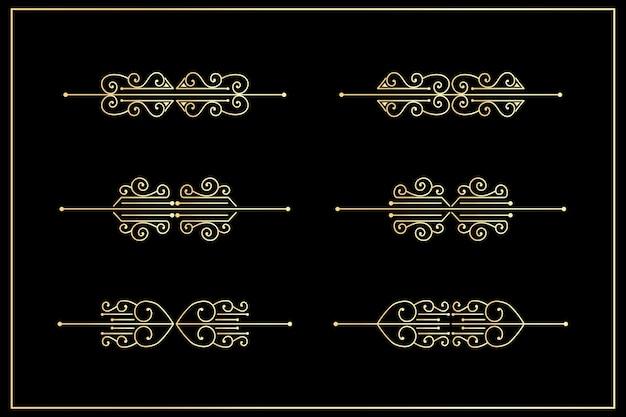 Классический орнамент золотой разделитель винтажный бордюр