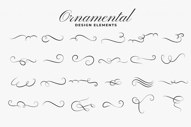 Classic ornamental curls borders or dividers set