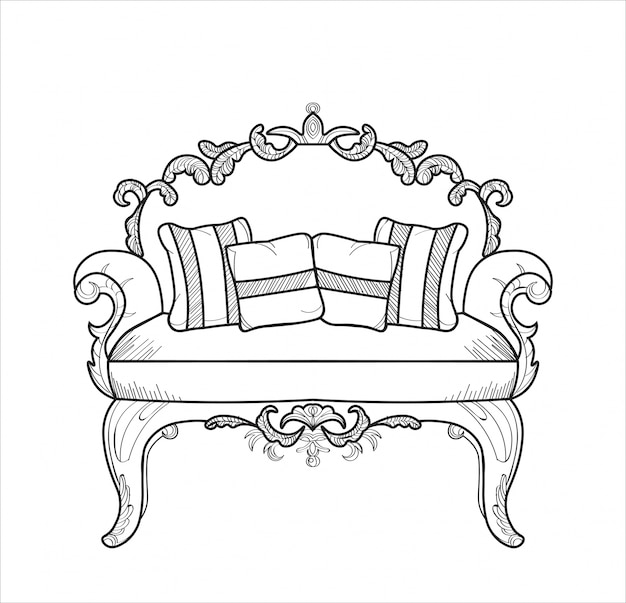 Classic ornamented couch vector illustration line art