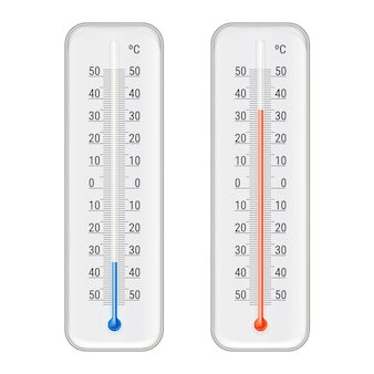 Classic outdoor and indoor celsius alcohol ethanol red and blue thermometers set for meteorological measurements realistic illustration