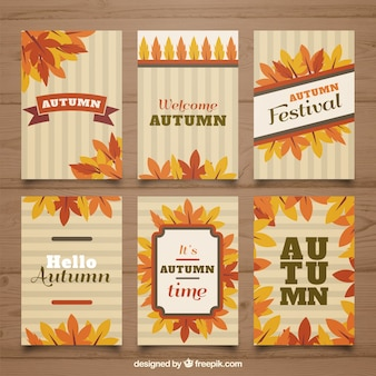 Classic pack of autumn cards with flat design