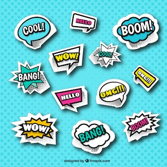 Classic pack of comic stickers