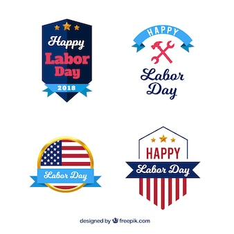 Classic pack of labor day badges with flat design