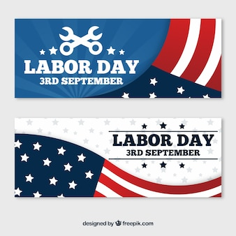 Classic pack of labor day banners with flat design