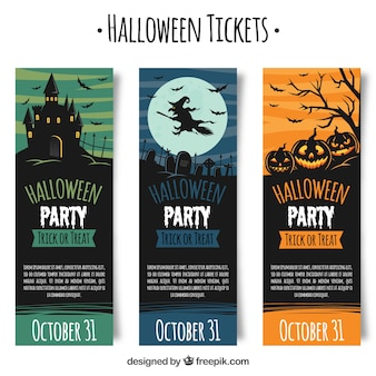 Classic pack of creepy halloween tickets