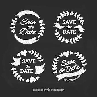 Pacchetto classico di etichette di nozze sulla lavagna