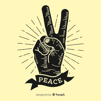 Classic peace fingers symbol with vintage style