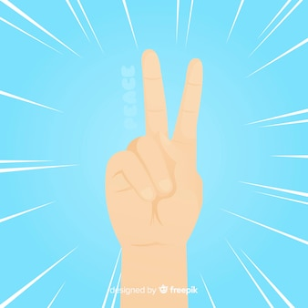 Classic peace fingers with flat design
