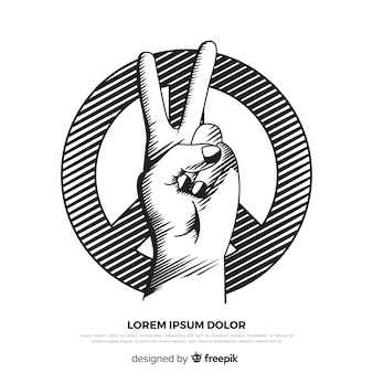 Classic peace fingers with hand drawn style