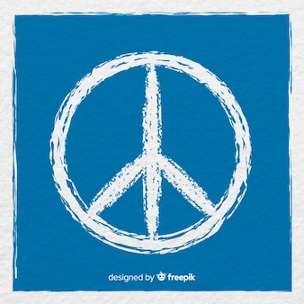 Classic peace symbol with hand drawn style