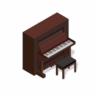 Classic piano isometric concept illustration editable