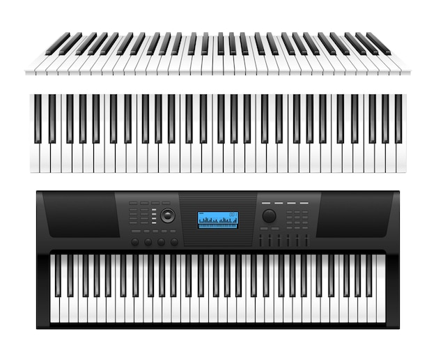 Classic piano keys and electric synthesizer realistic keyboard