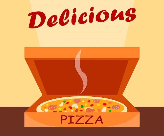 Classic pizza in box cartoon vector illustration