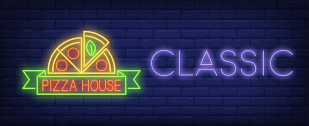 Classic pizza house neon sign