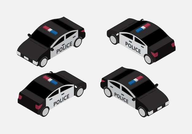 Classic police car set isometric vector