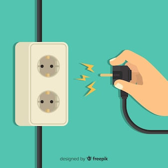 Classic power socket with flat design