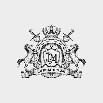 말 클럽을 위한 클래식 프리미엄 패밀리 크레스트 로고