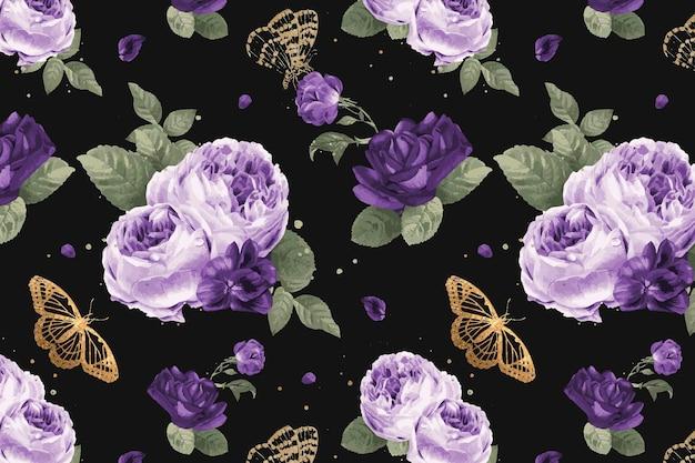 Classic purple peony flowers vintage illustration